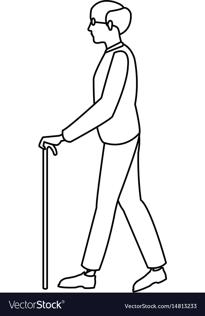 bald man elderly walking with cane stick outline vector image