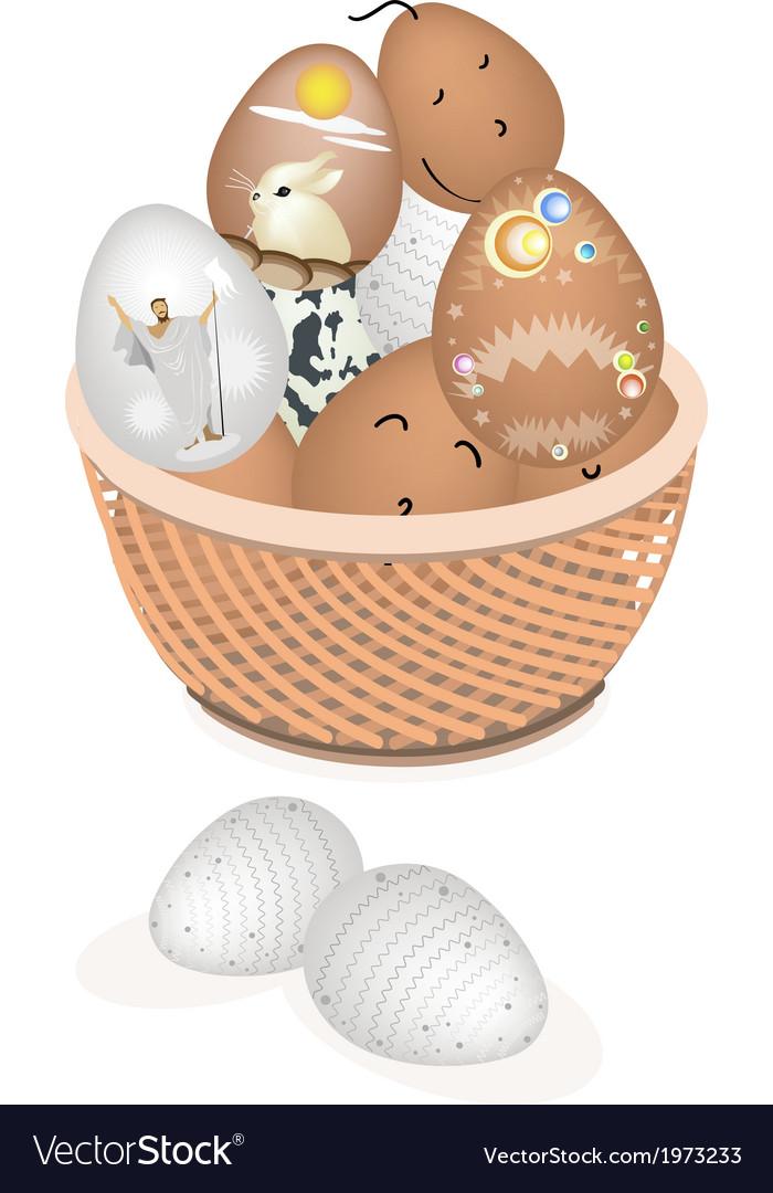 Beautiful Easter Eggs in A Brown Basket
