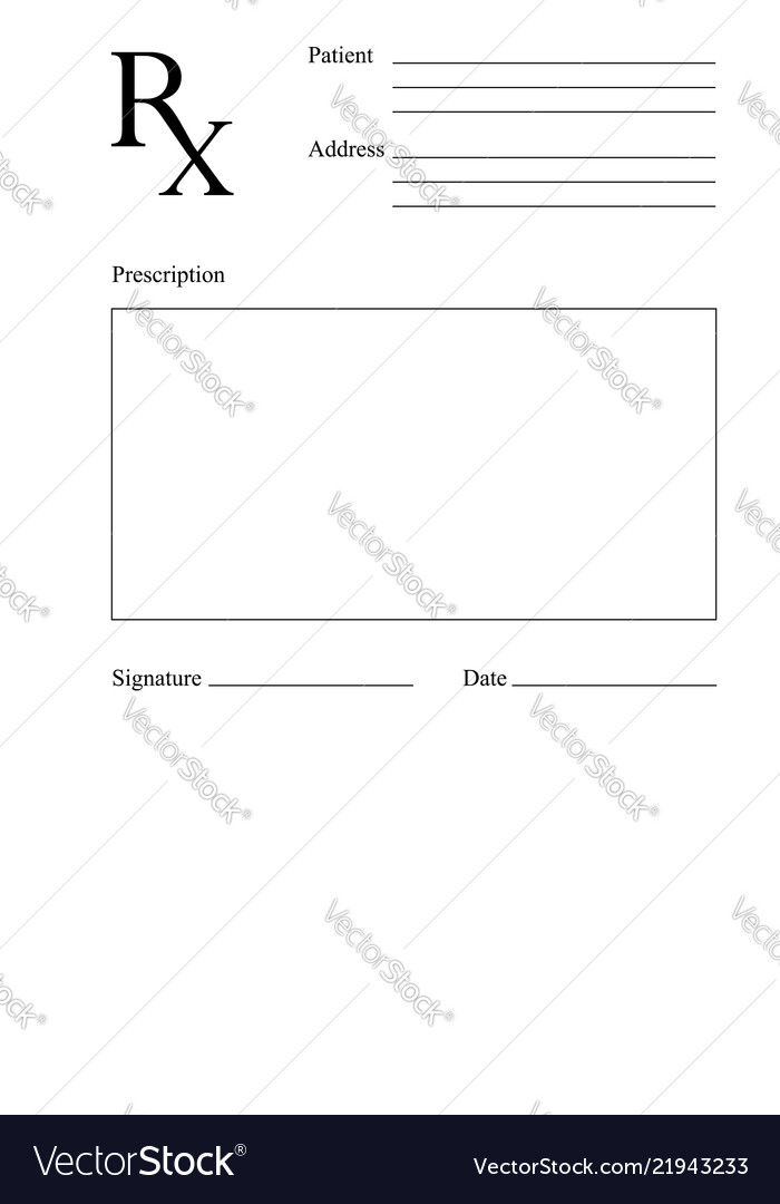 Blank Rx Prescription Form Medical Concept Vector Image