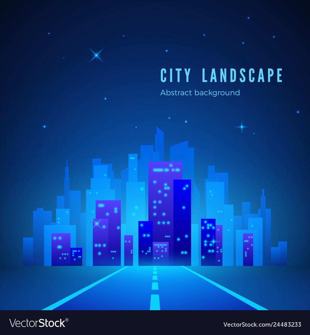 City landscape futuristic night city road to city