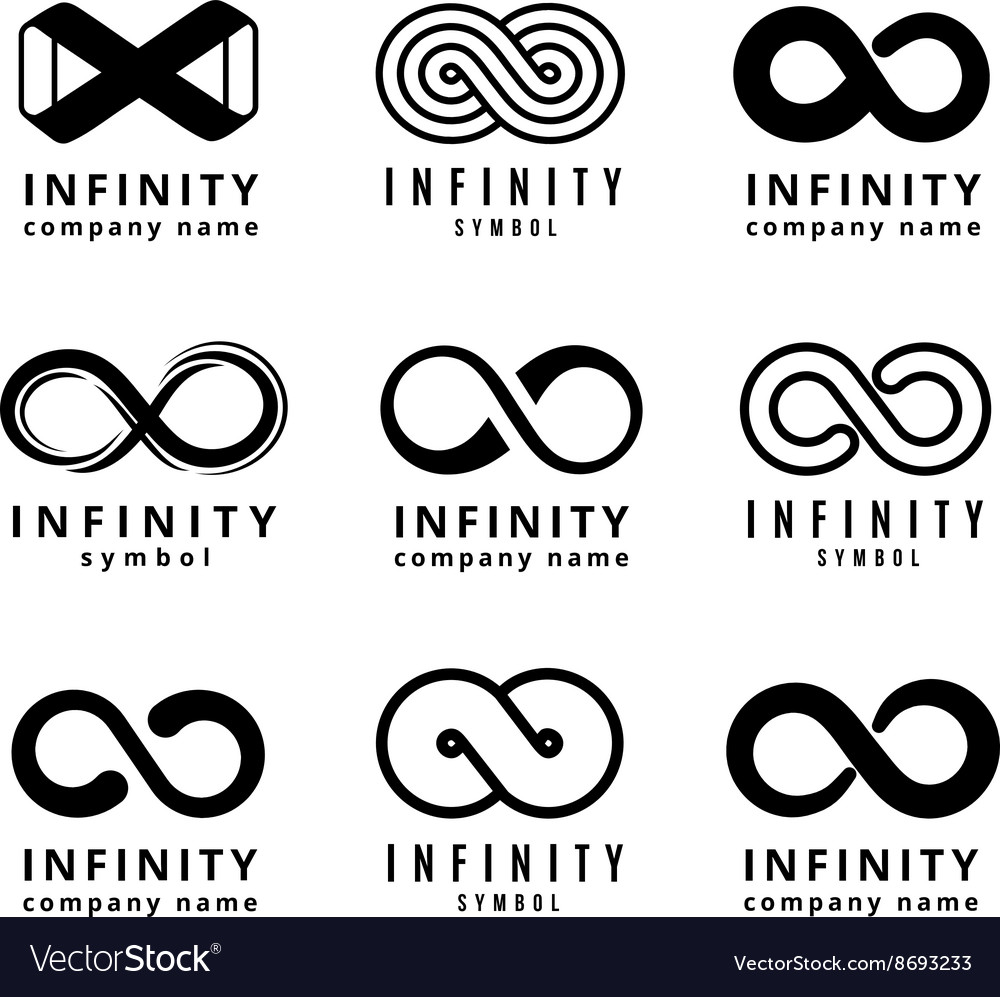 Different Infinity Logos Set Royalty Free Vector Image