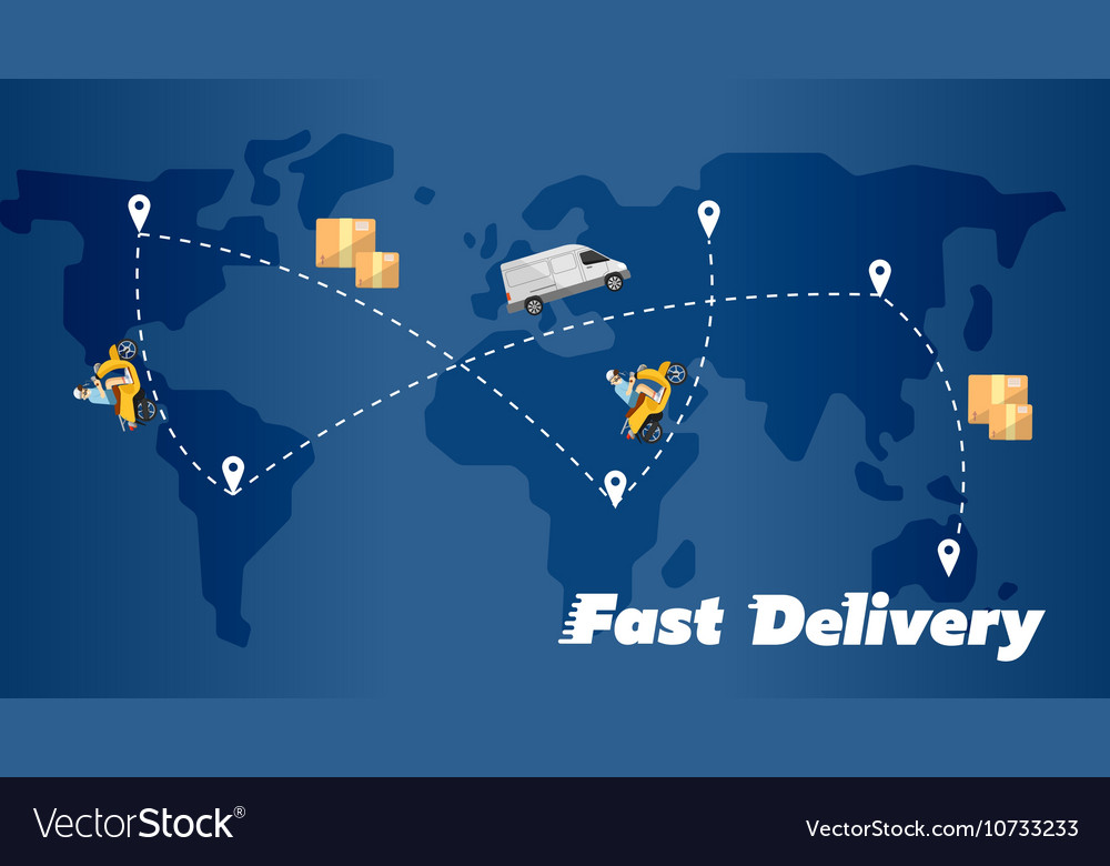 Fast Delivery Banner World Map With Routes Vector Image