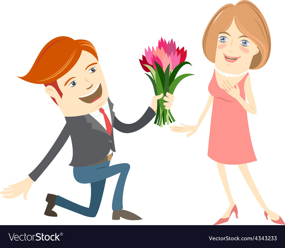 Hipster funny man kneeling giving flowers to the