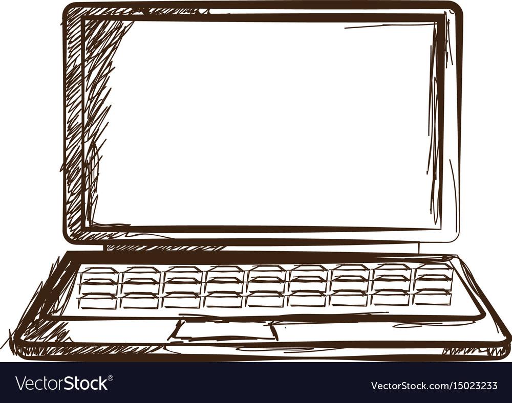 Laptop hand drawn sketch doodle gadget engraved vector image
