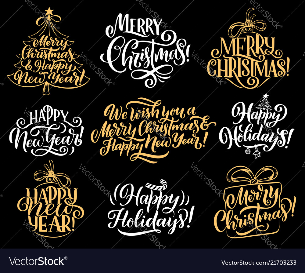 Merry christmas holiday greeting lettering