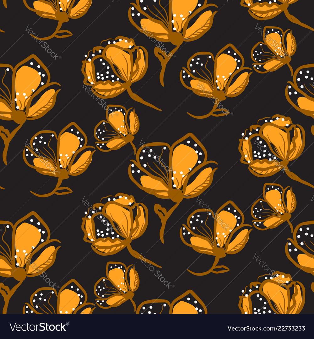 Orange lace flowers seamless pattern on