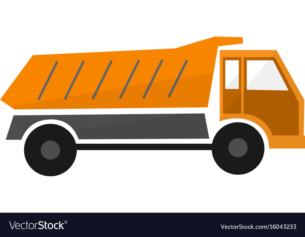 Orange truck dump or lorry in flat design types