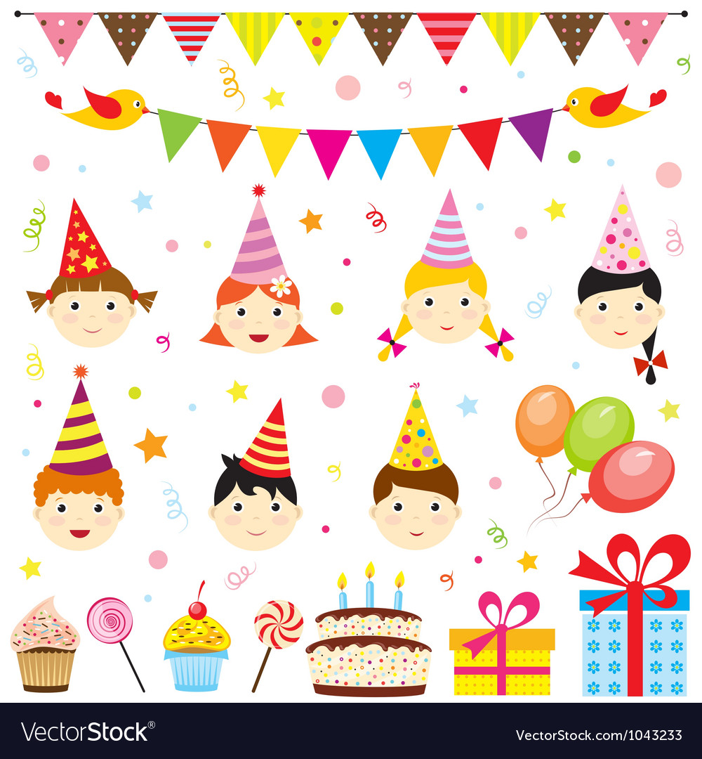 Set of birthday party elements with cute kids