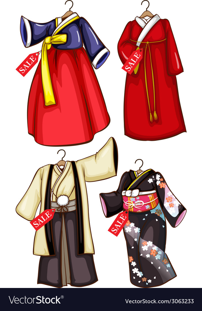 Simple Sketches Of The Asian Costumes On Sale Vector Image