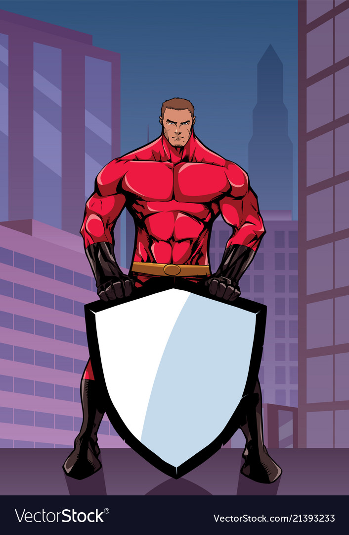Superhero holding shield in city vertical