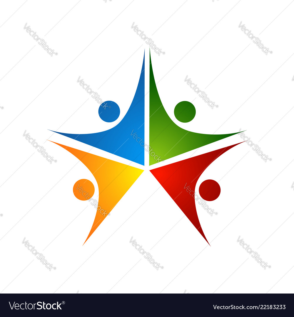 Three happy motivated people in a round colorful