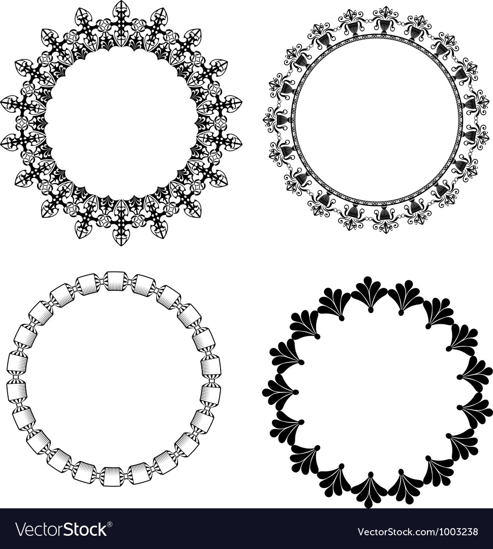 A set of round frames with ornament Royalty Free Vector