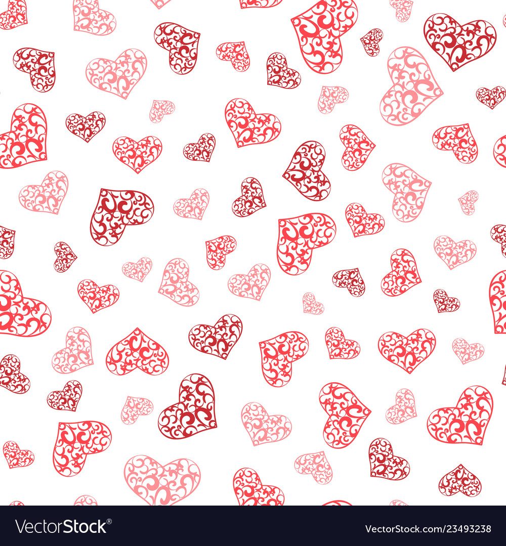 Abstract lace hearts seamless pattern