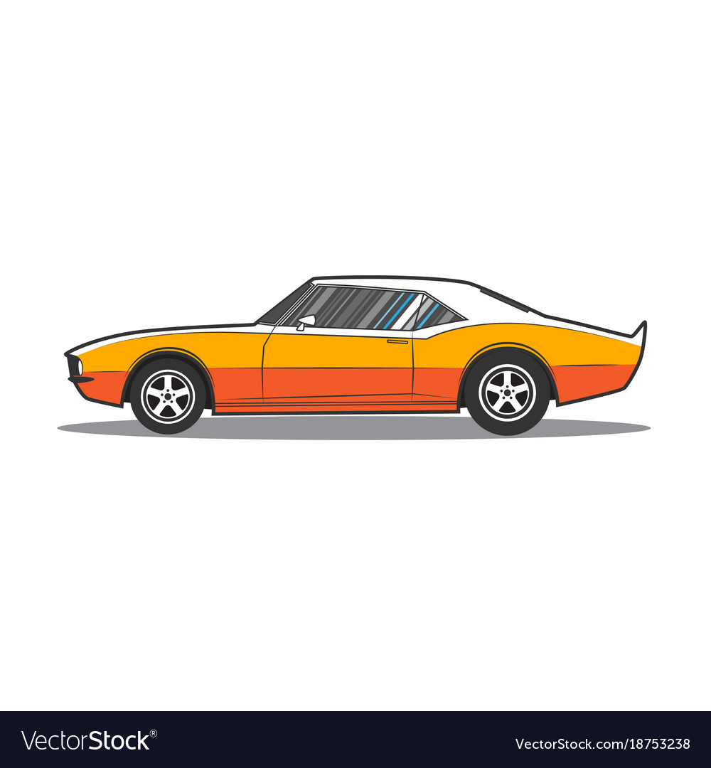 American Muscle Car Side View Royalty Free Vector Image