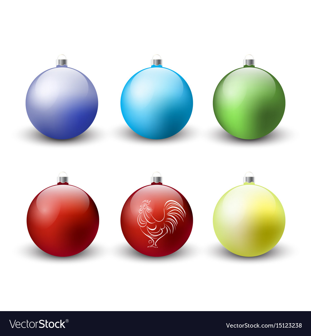 Christmas balls decoration icon set