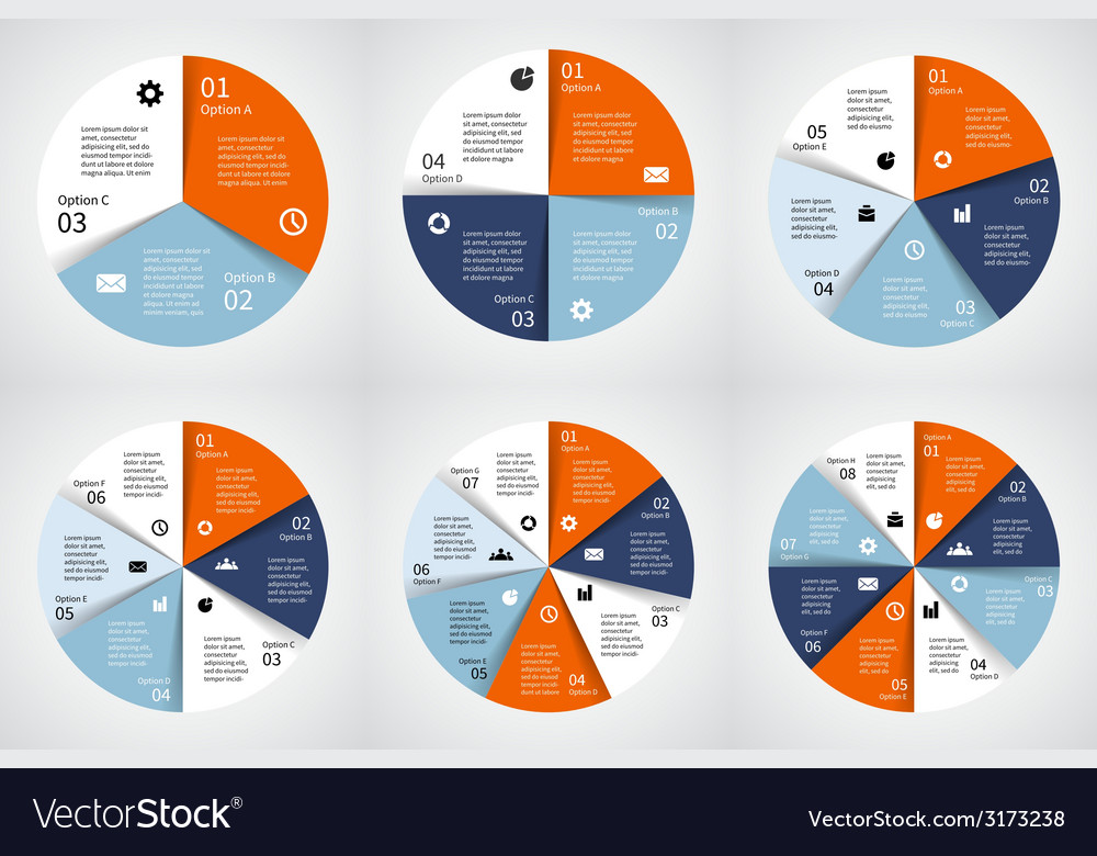 Circle infographics set Template for diagram graph