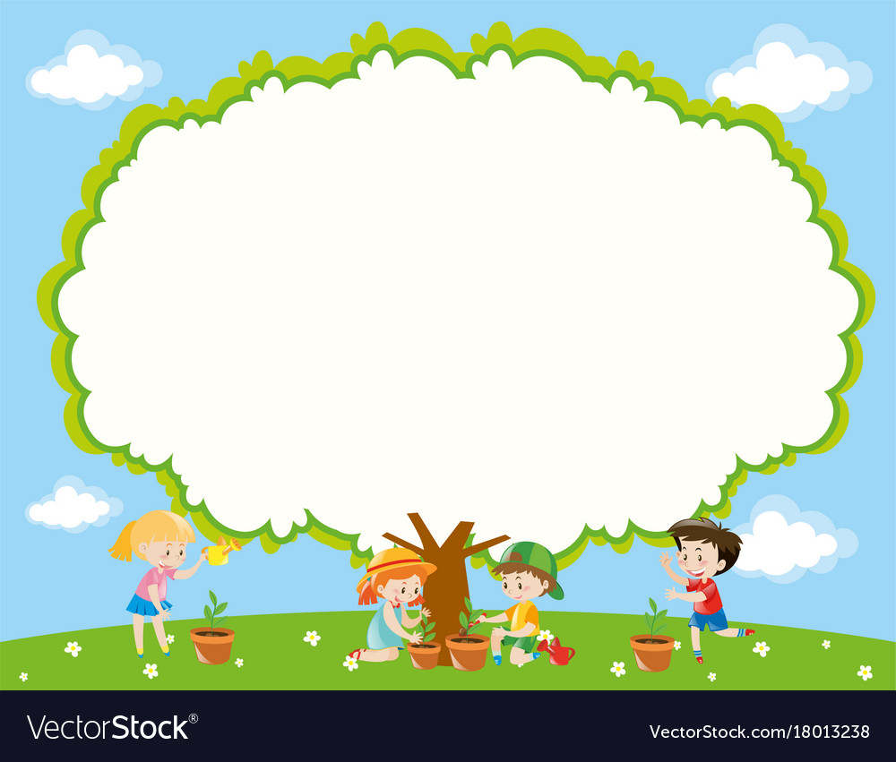 Frame template with kids planting tree in garden Vector Image