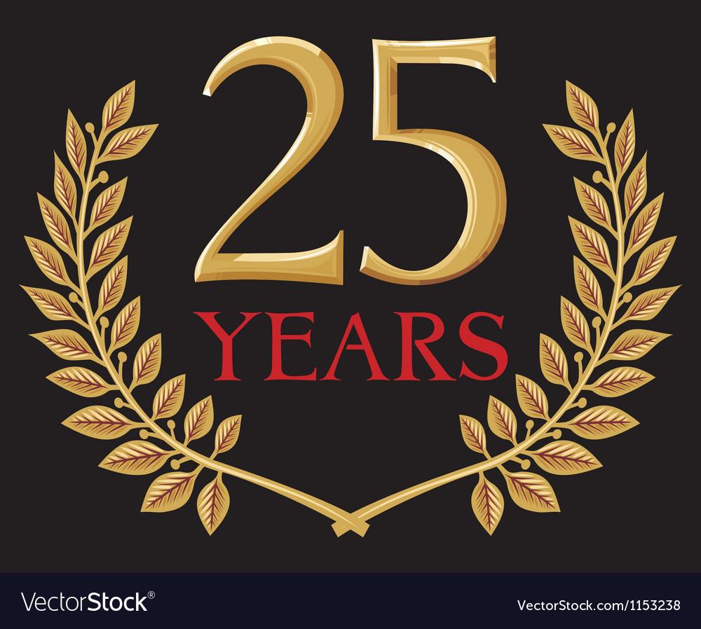 Golden laurel wreath twenty five years anniversary