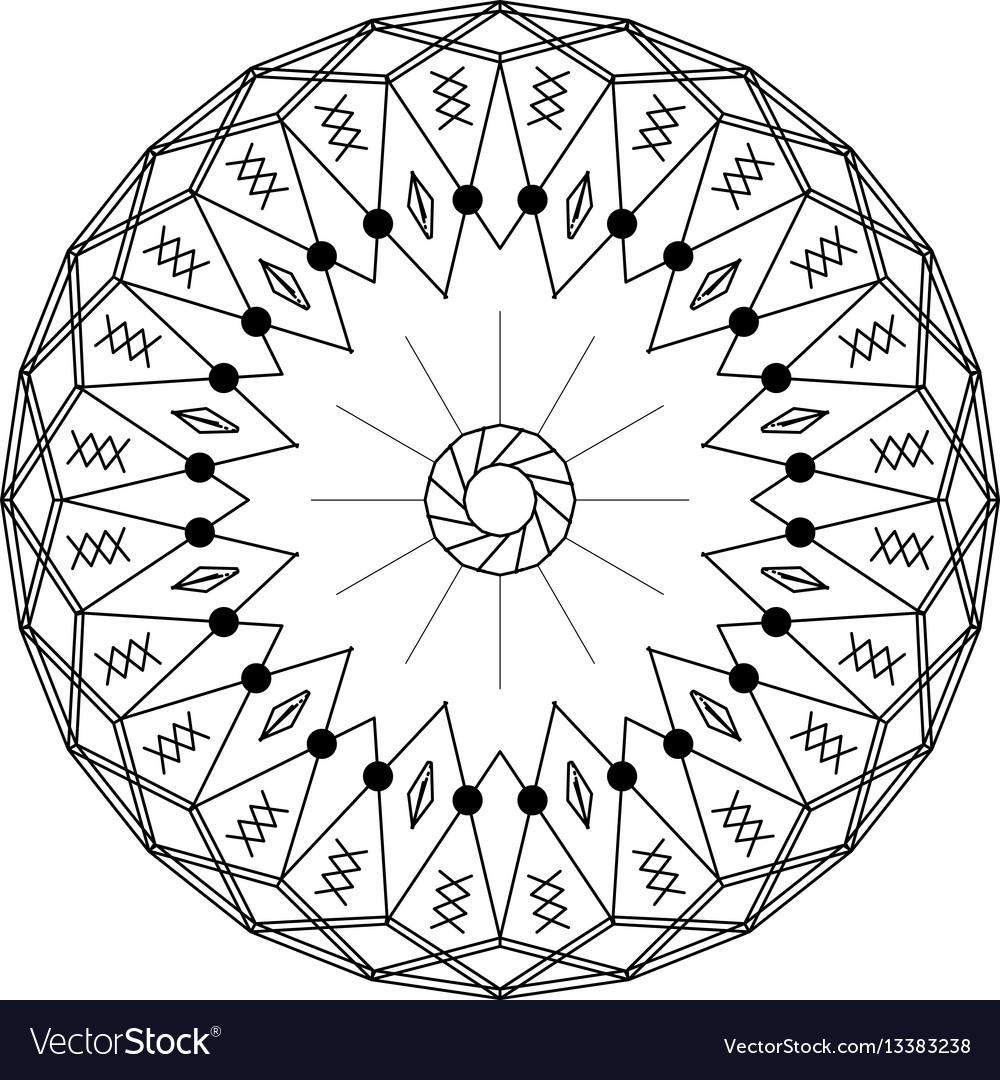 Outline mandala round ornament