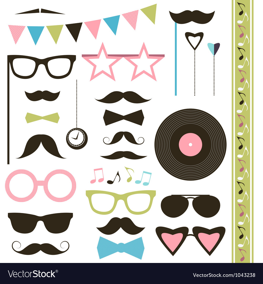 Set of retro disco party elements Mustaches and vector image