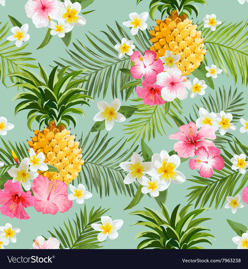 Tropical Flowers and Pineapples Background vector image