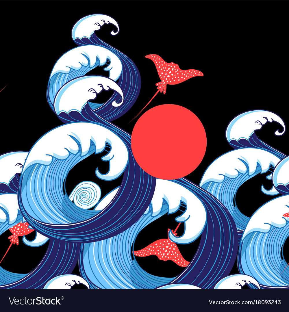 abstract sea background with waves and rays vector image
