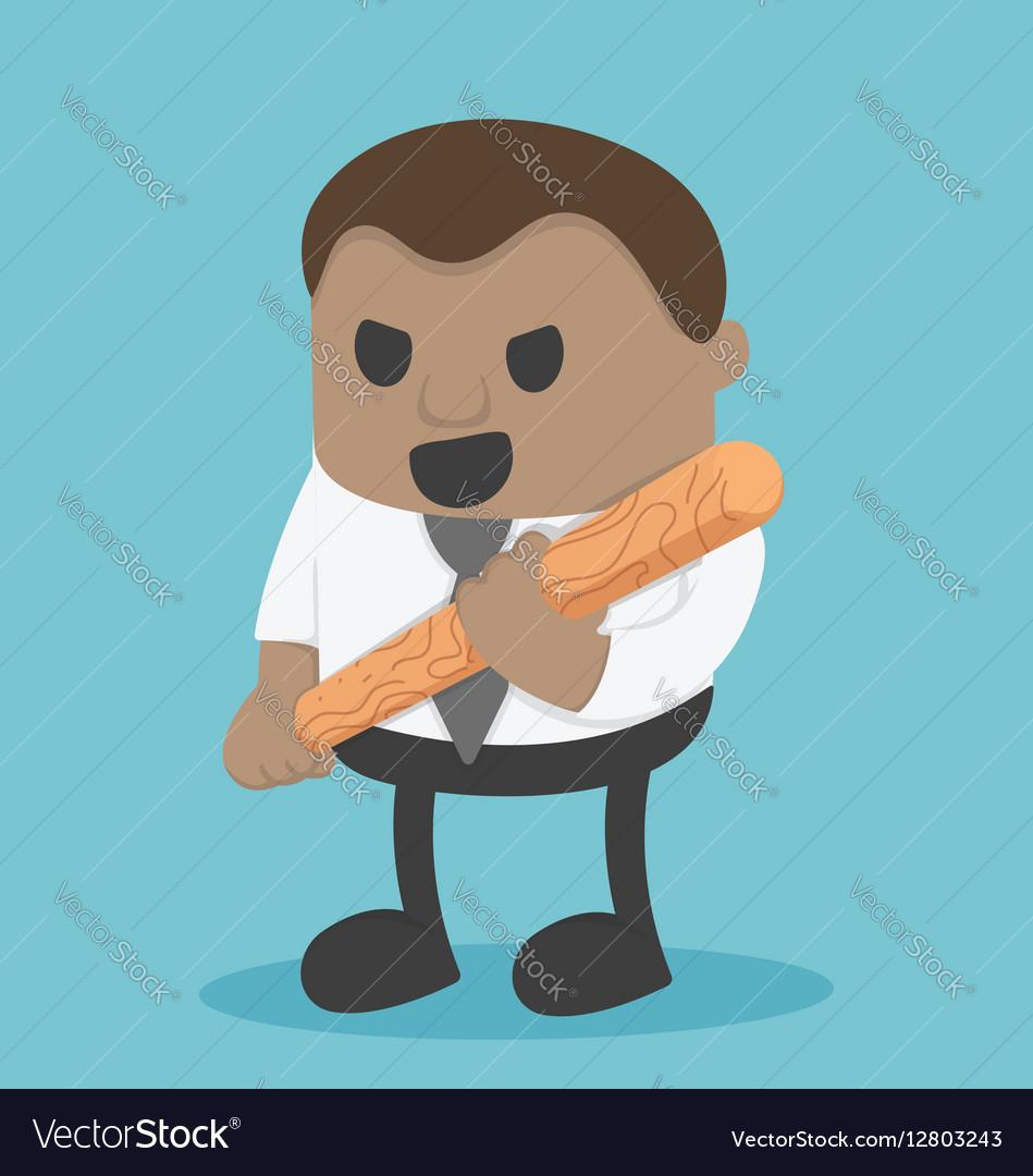 African Businessman Holding a baseball bat