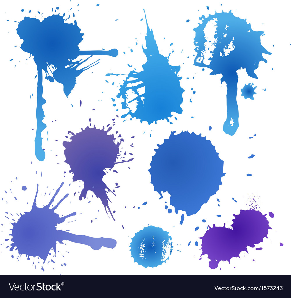 Blue ink blot collection isolated on white backgro