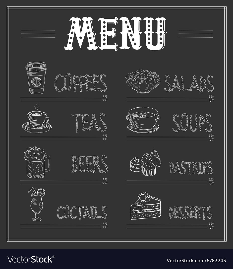 Chalkboard menu template food and drinks vector