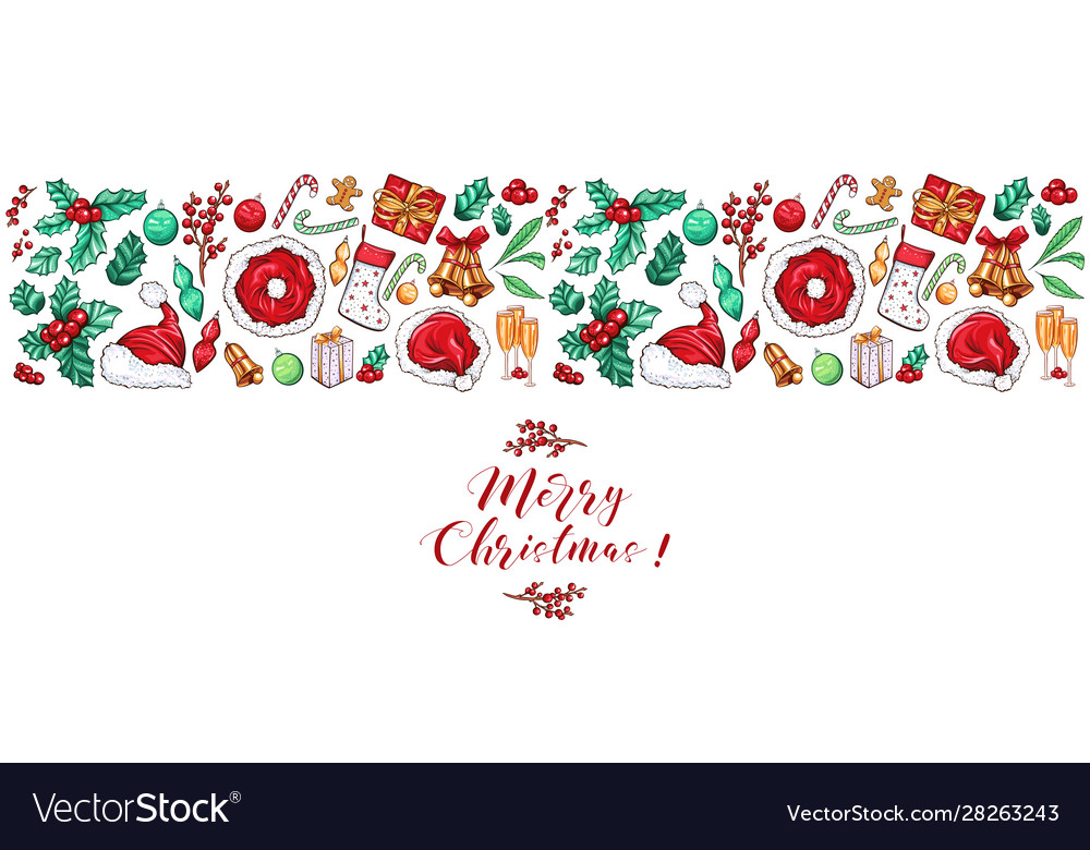 Christmas border design for greeting card