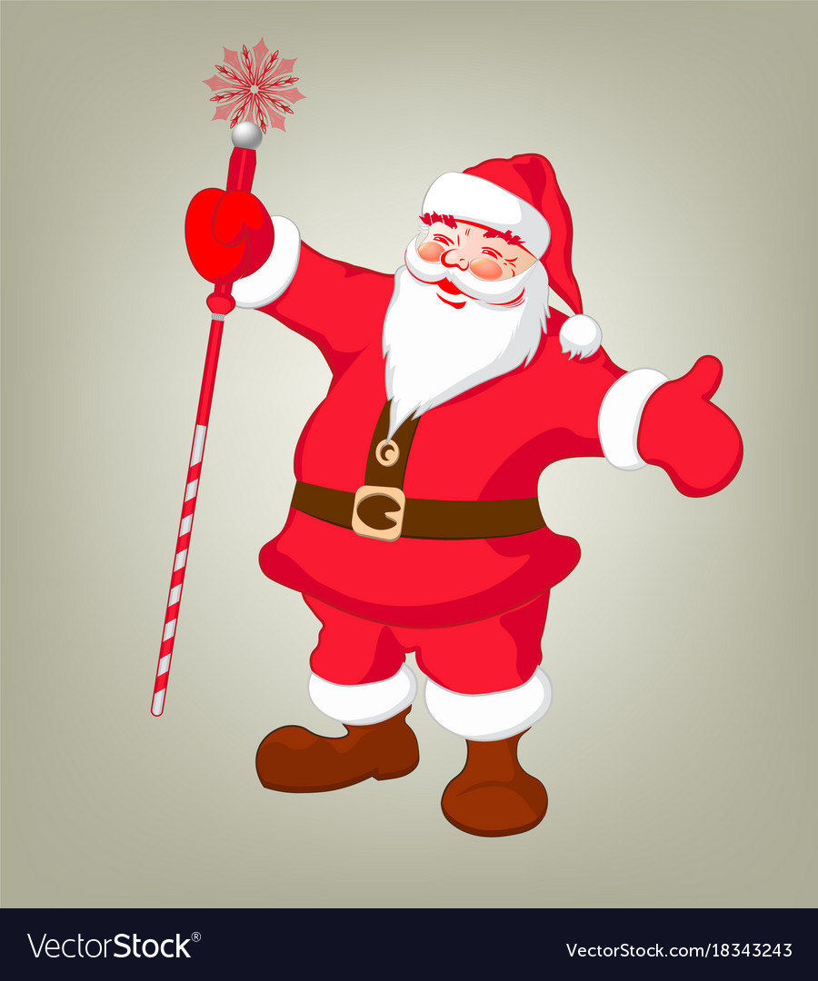 Drawing Of Santa Claus With Arms And Staff