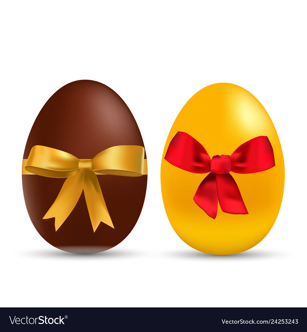 Easter gold and chocolate eggs with bow