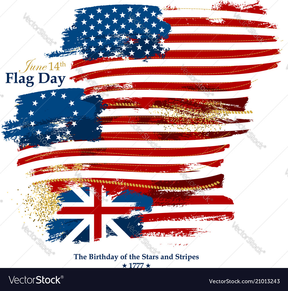 flag day card with american flags royalty free vector image