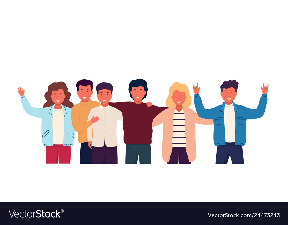 Group of friends embrace and stand together group