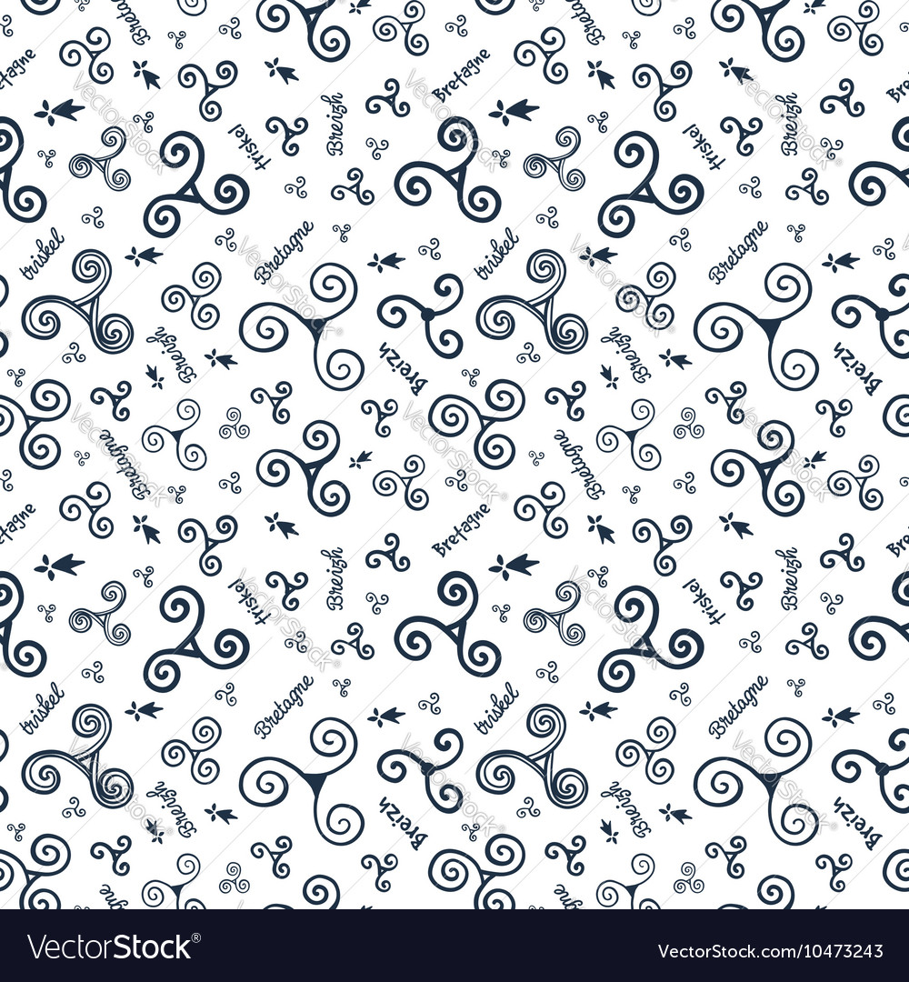Hand drawn doodle style triskels seamless
