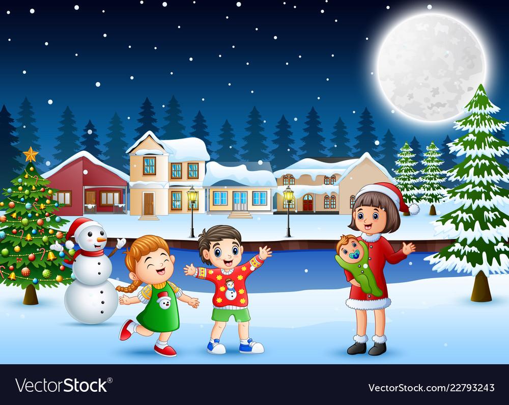 Christmas Celebration Cartoon Images.Happy Family Celebration A Christmas Day Outdoors