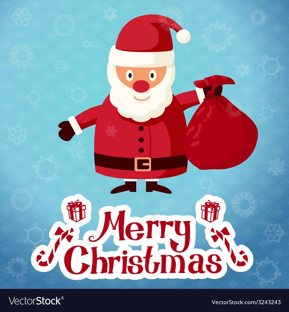 Merry christmas greeting card santa claus vector image m4hsunfo