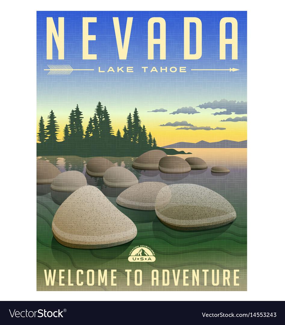 Nevada lake tahoe travel poster