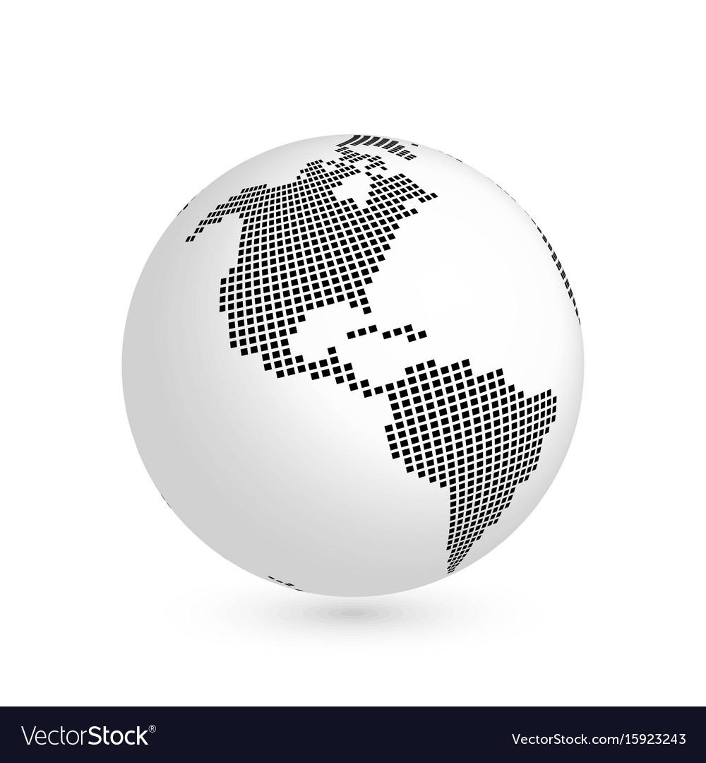 Planet earth globe with black squared map of vector image