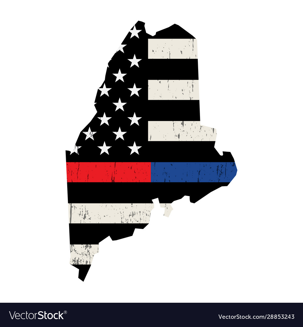 State maine police and firefighter support flag