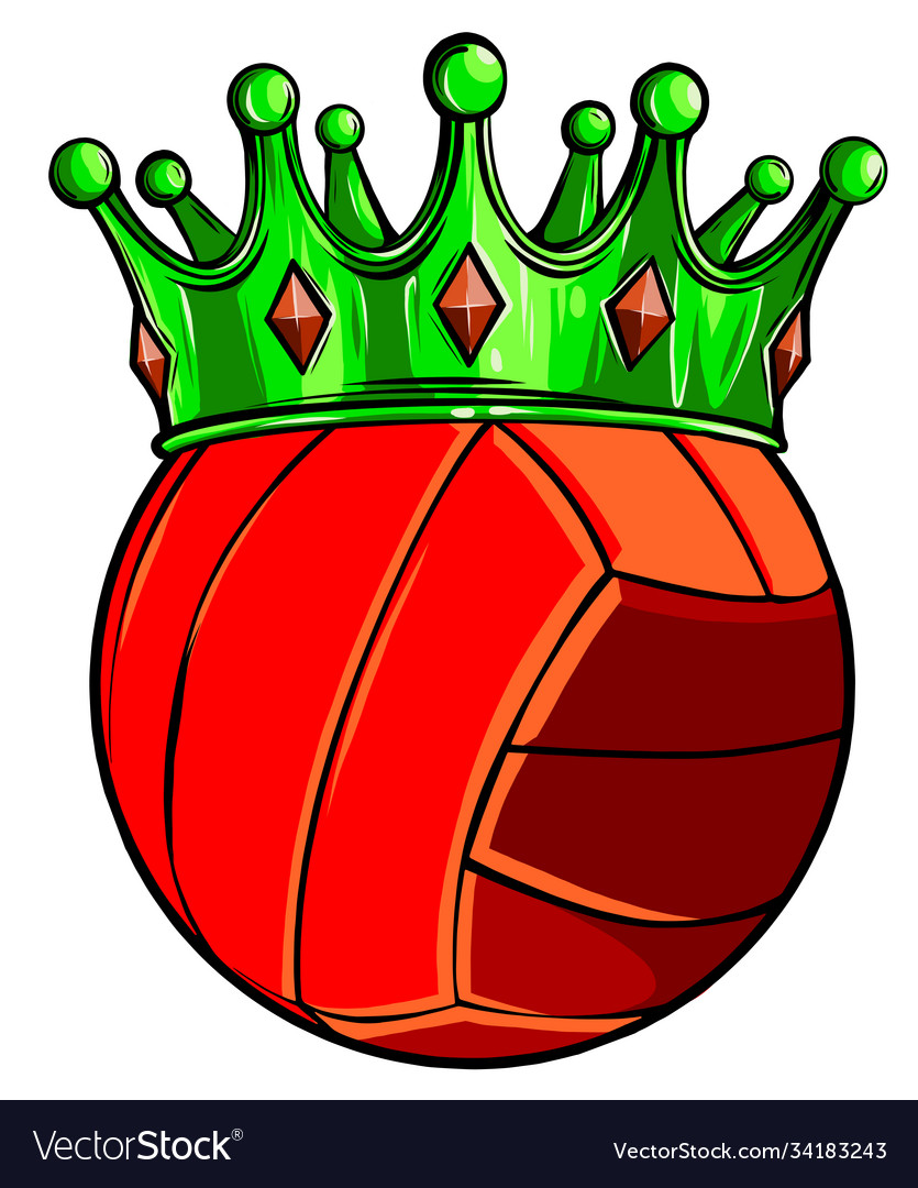Volleyball ball in golden royal crown concept of