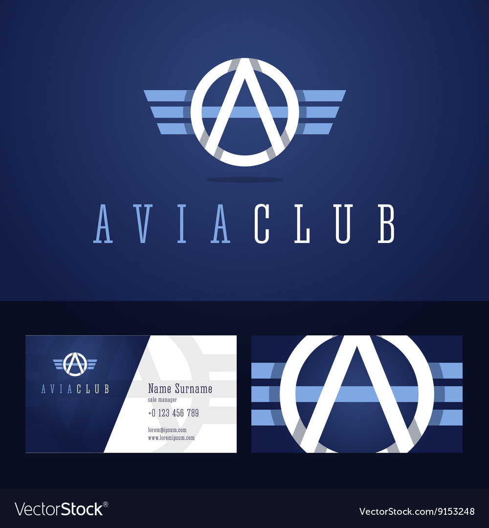 Avia club logo and business card template vector image