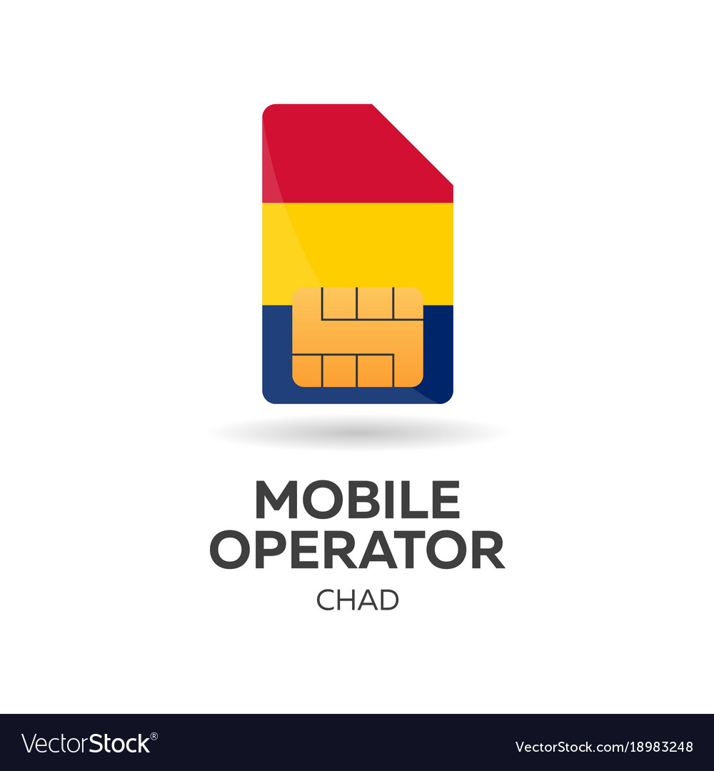 Chad mobile operator sim card with flag