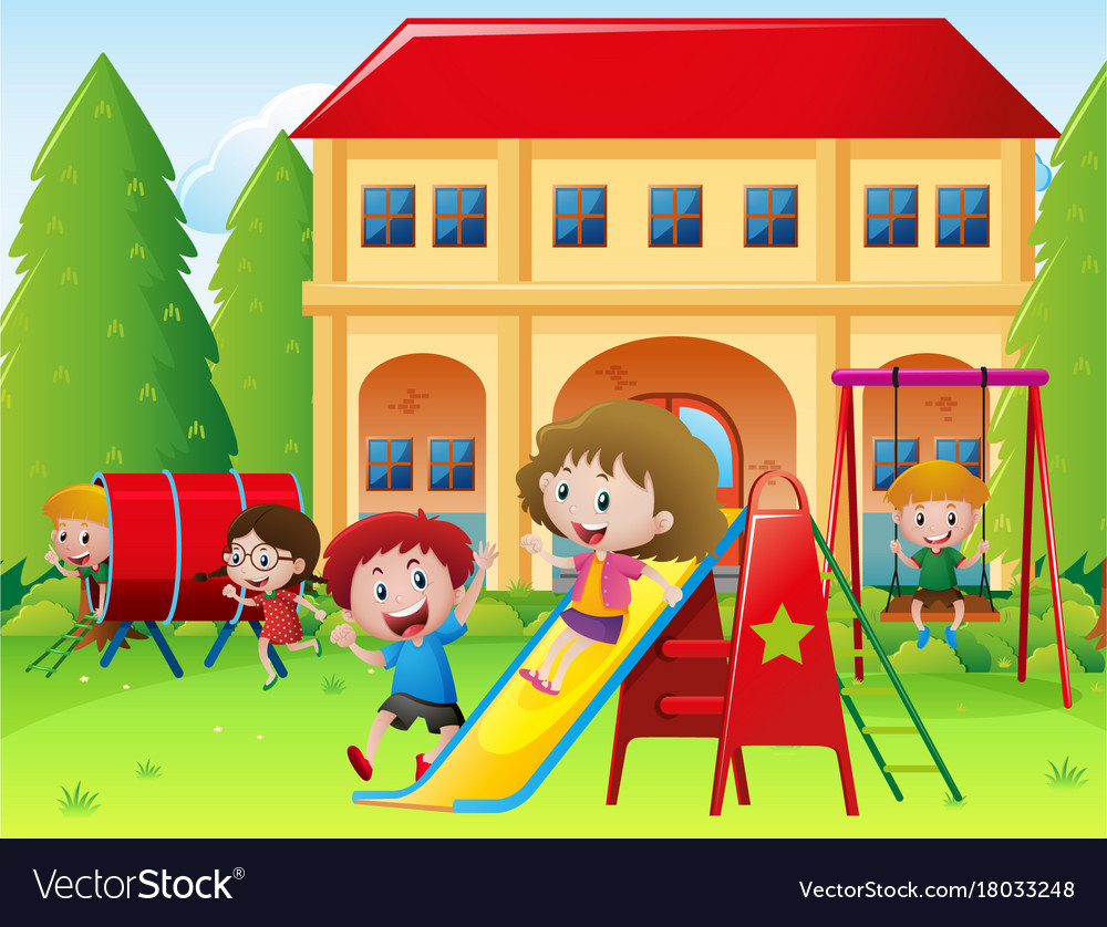 children playing at school playground royalty free vector