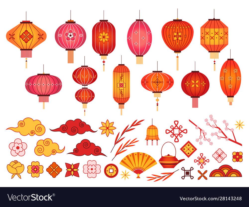 Chinese new year elements asian lantern japanese