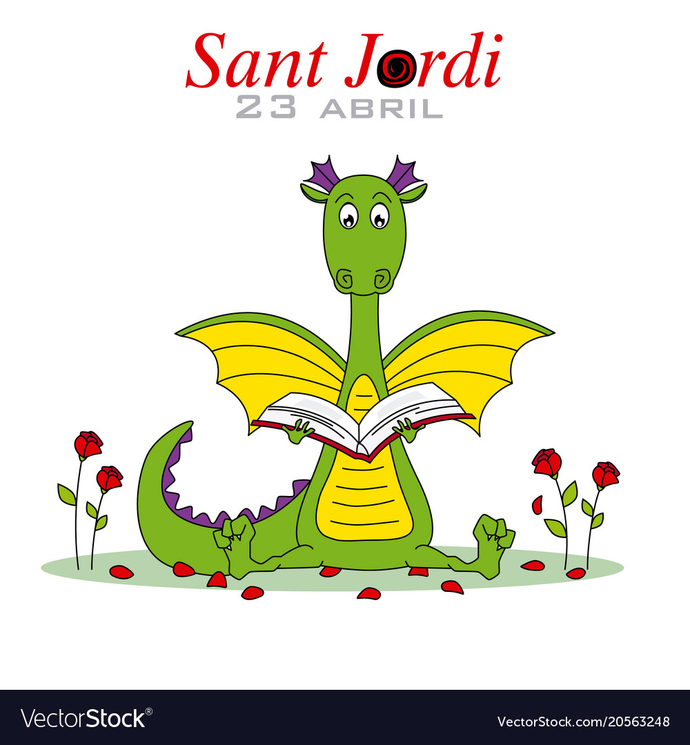 Dragon reading a book surrounded by roses vector image
