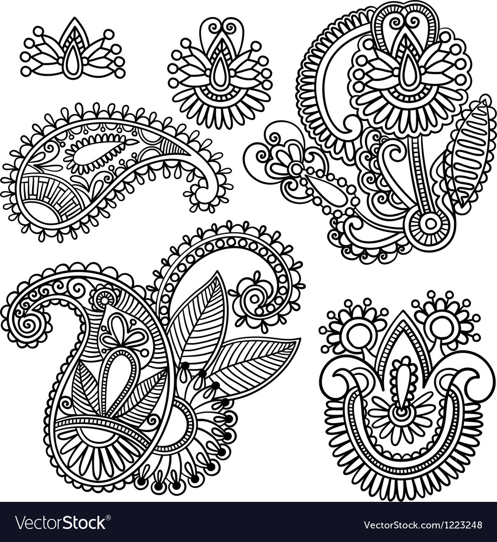 Flowers and Paisley design element