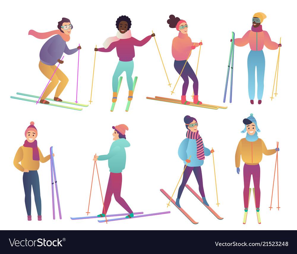 Group of cute cartoon skiers people ski trendy