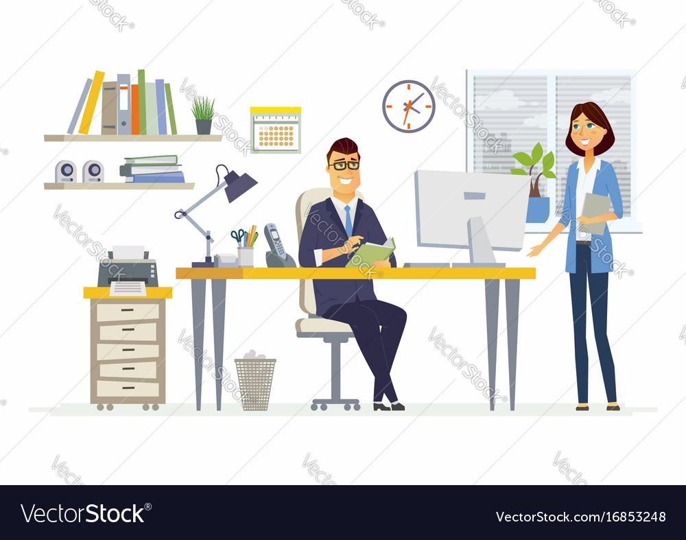 Office meeting - modern cartoon business