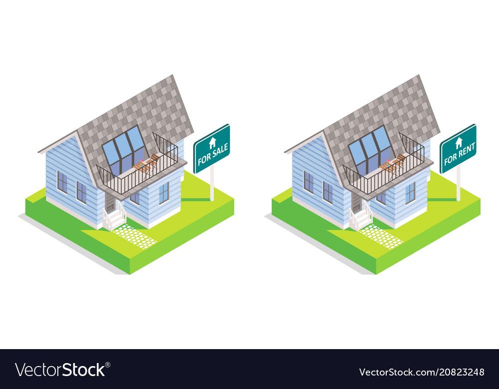 Real estate house isometric icon set